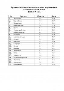 График проведения школьного этапа всероссийской олимпиады школьников